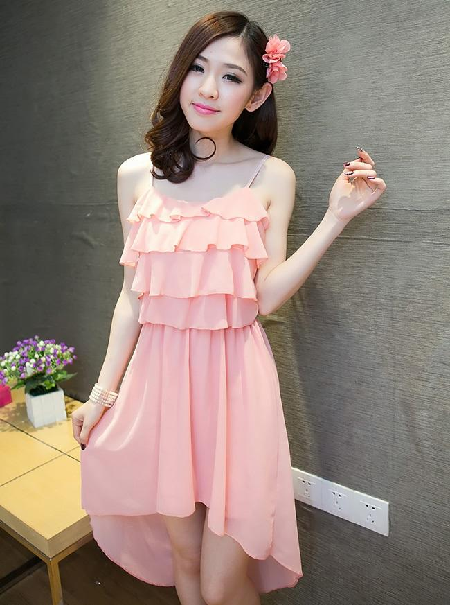 Dress Import Bahan Chiffon (warna : pink, purple) Rp. 100.000 ukuran M,L,XL