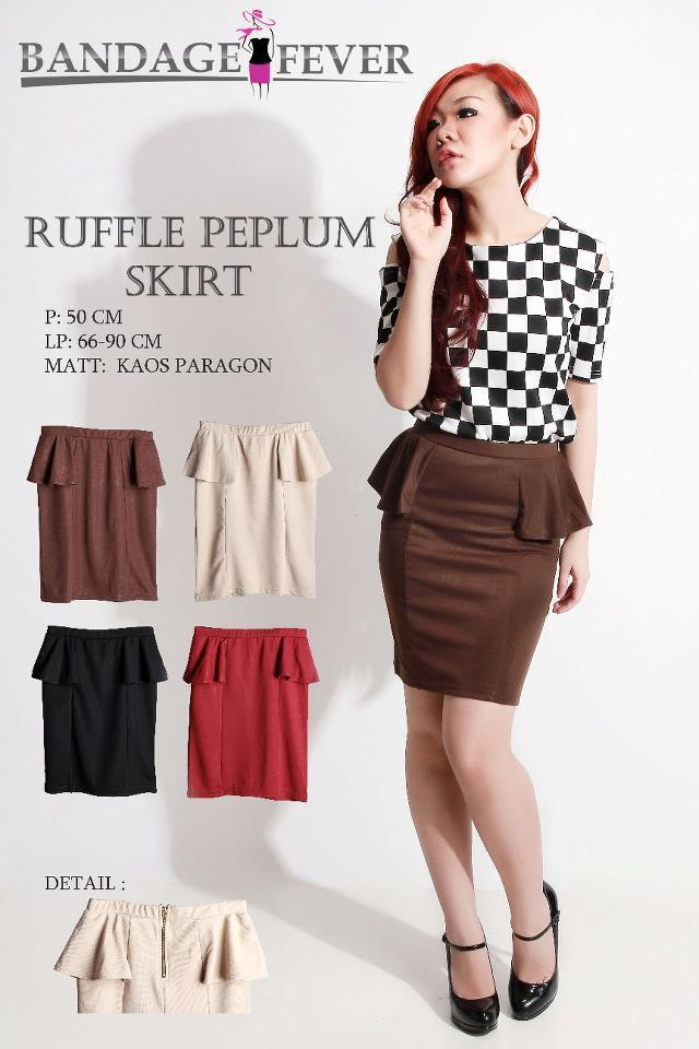 Ruffle Peplum Skirt Dark Brown