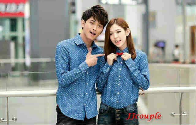 Kemeja Polka Trendy Baju Couple Baju Pasangan Korea