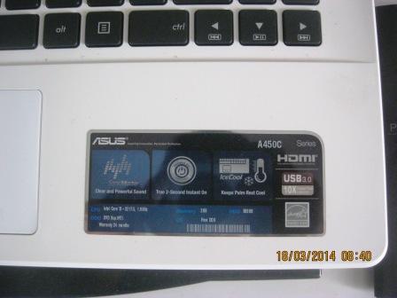 Dijual Cepat LAPTOP ASUS A450C CORE i3 IVYBRIDE VGA NVIDIA 2G, WARNA PUTIH