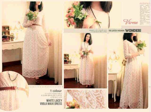 VR07 viola white lace maxi dress