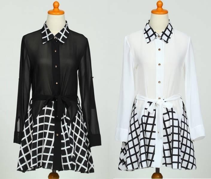 DRESS WHITE/BLACK CHIFFON