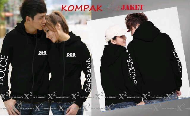 Jacket Black DG Jaket Baju Kaos Couple Pasangan Modis Koleksi Terbaru