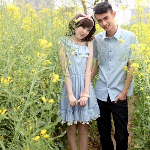 Dress Denim Karen Baju Kaos Couple Pasangan Modis Koleksi Terbaru