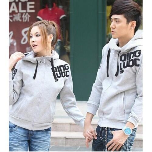 Jacket X2 Grey Qing Jaket Baju Kaos Couple Pasangan Modis Koleksi Terbaru
