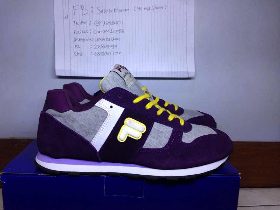 WTS FILA retro sneaker, pewter popsil , blk froost , purple MURAH!