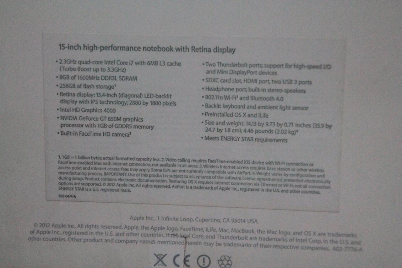 Jual MACBOOK PRO i7 MID 2012 RETINA DISPLAY Quadcore 2.3 Ghz turbo boost 3.3 Ghz