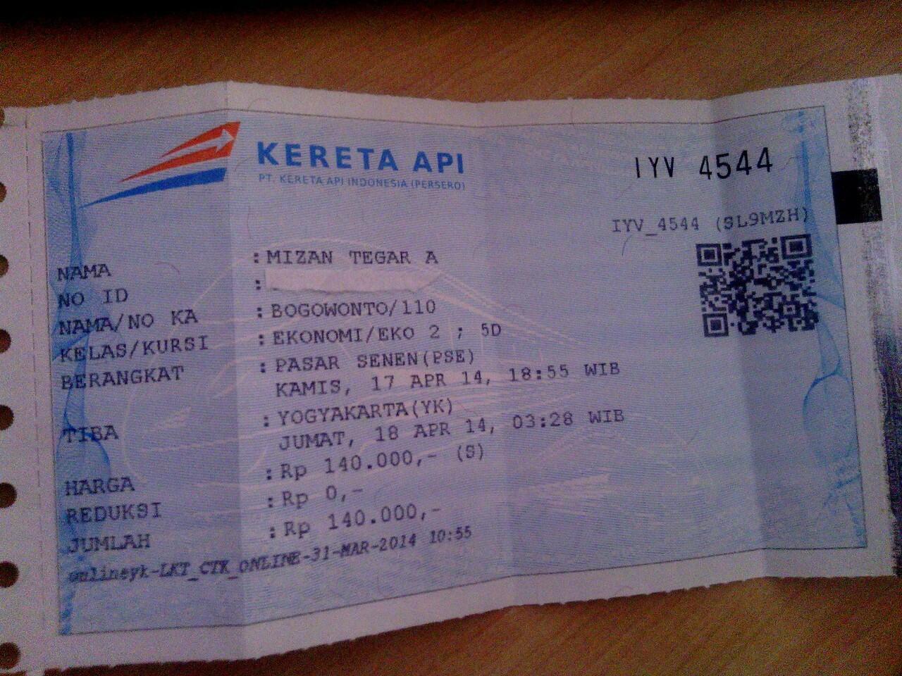 Terjual Jual Tiket Kereta Bogowonto Long Weekend Tgl 17 April Jakarta Jogja