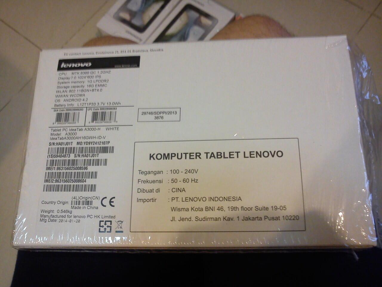 dijual tablet lenovo a3000 baru warna putih barang baru dan garansi