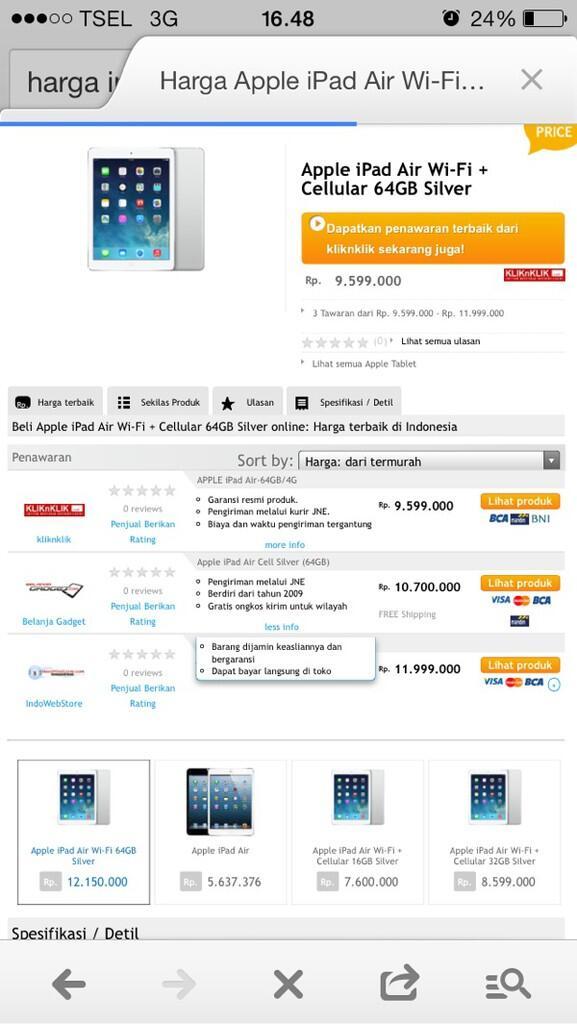 WTS Apple iPad Air Cell Silver (64GB) BNIB Sealed Importir Inkopad