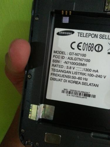 Samsung Galaxy Note 2 GT-N7100 Gray Segel SEIN Murah BANDUNG