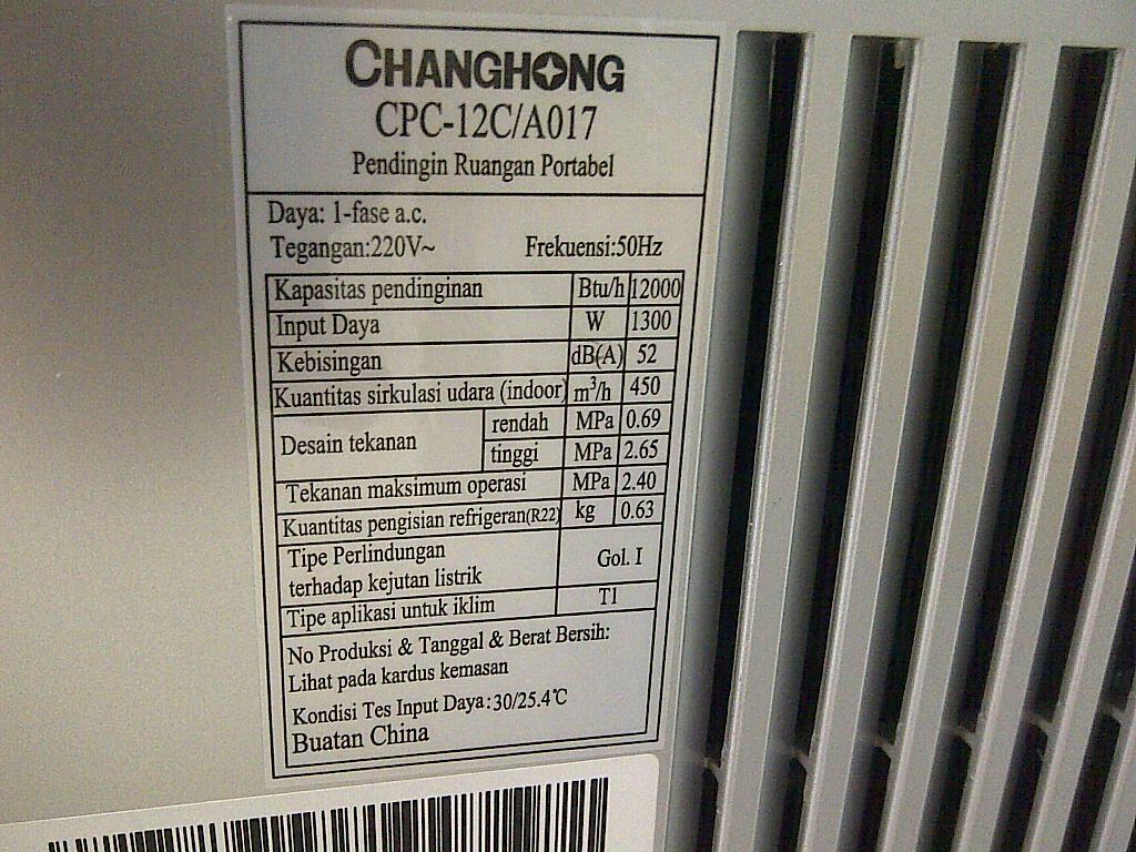 Jual Ac Portable ChangHong bekas kantor murah
