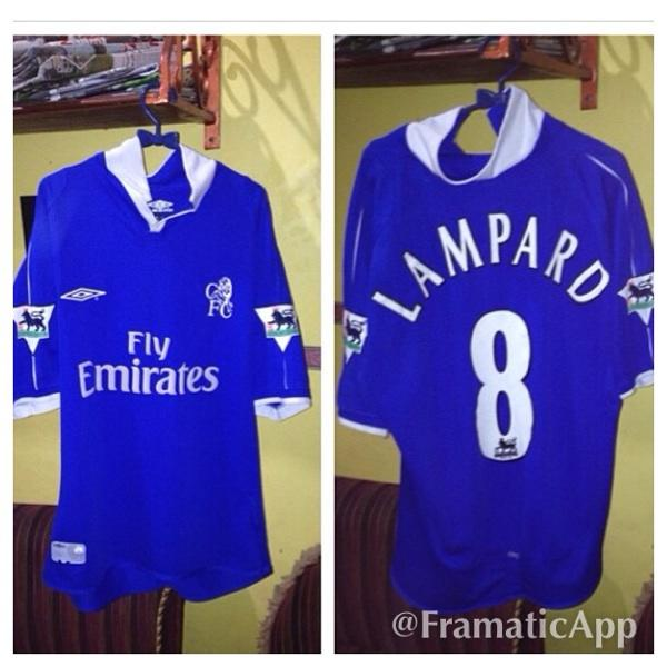 reputable site d73fc ad244 Terjual Jersey Chelsea Retro . 2001 home , name set lampard full patch