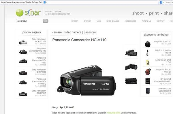 Terjual JUAL HANDYCAM PANASONIC FULL HD HC-V110