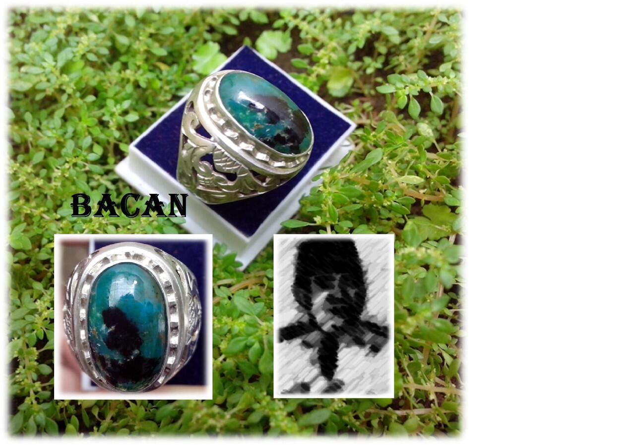 Jual Cincin Batu Bacan Unique + Ring Perak KotaGede Pesenan Tebal