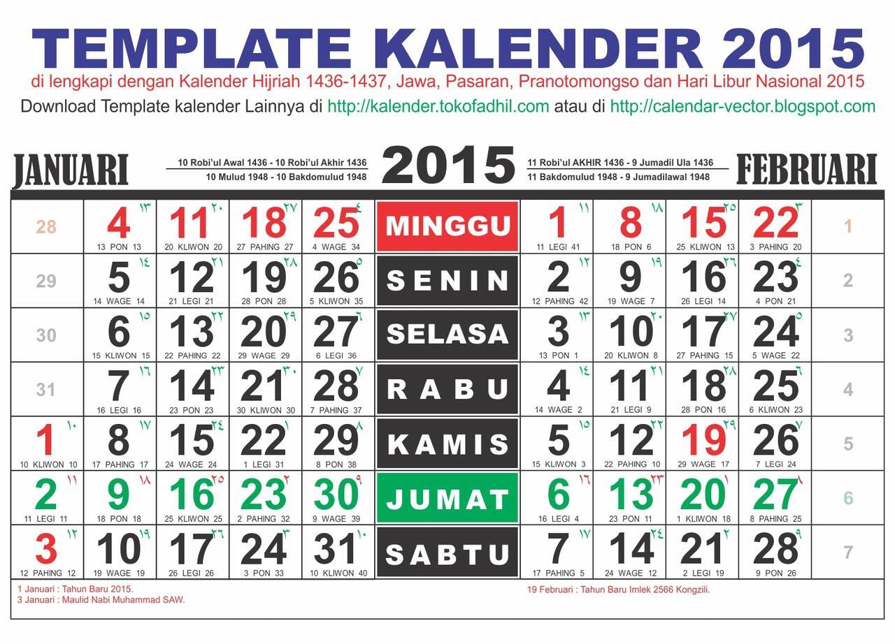 Cari Template Desain Kalender 2015 dan Kalender Hijriah 1436 editable ...