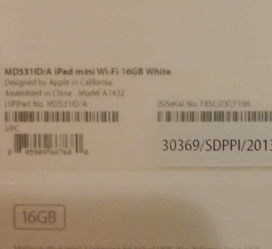 BNIB Apple Ipad Mini Wifi 16 GB - White