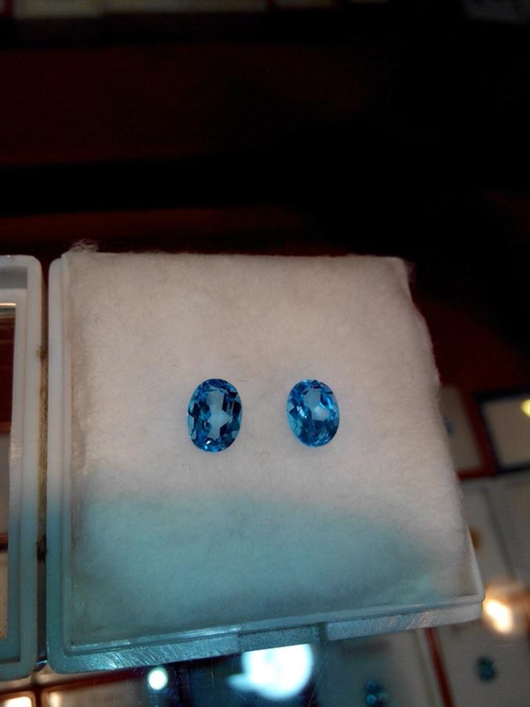 sepasang blue topaz asli brazil