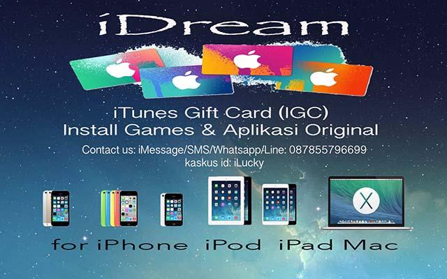 iTunes Gift / IGC untuk iPhone/iPad/iPod/Mac legal murah