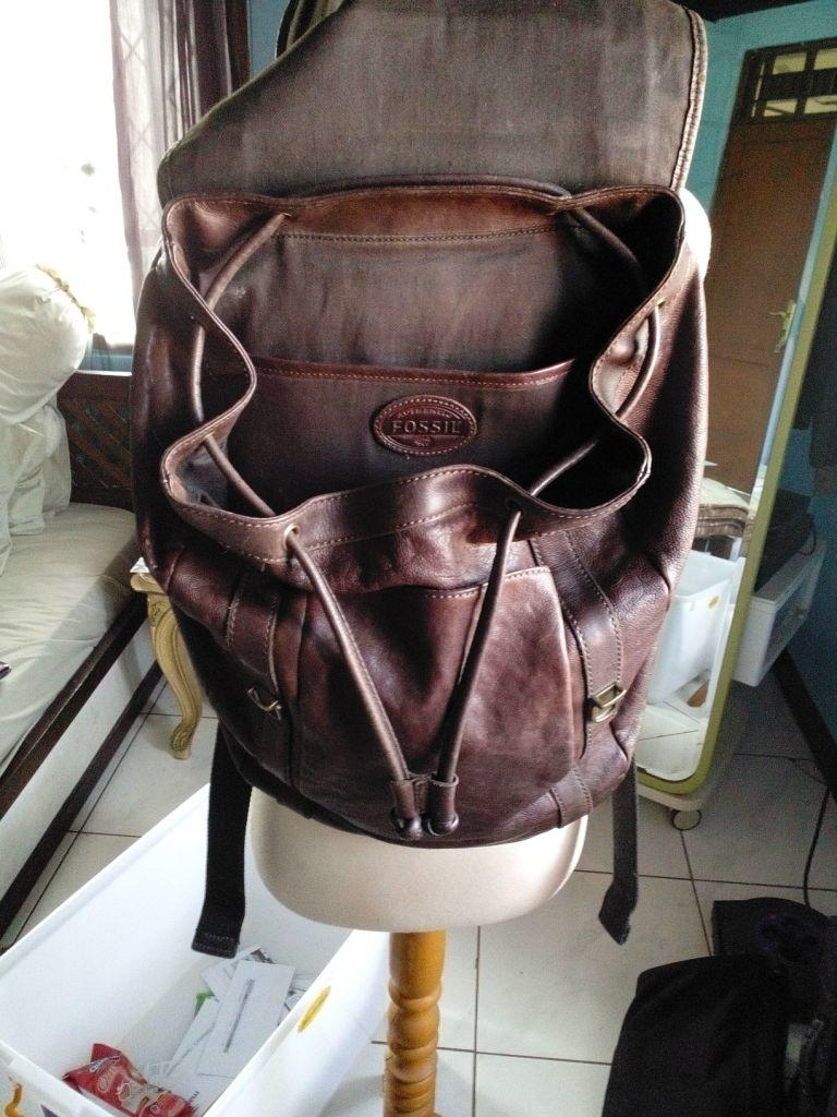 JUAL  Authentic Fossil Backpack Bag - Real Genuine Leather - Kulit asli -  Tas b52c3a3e59