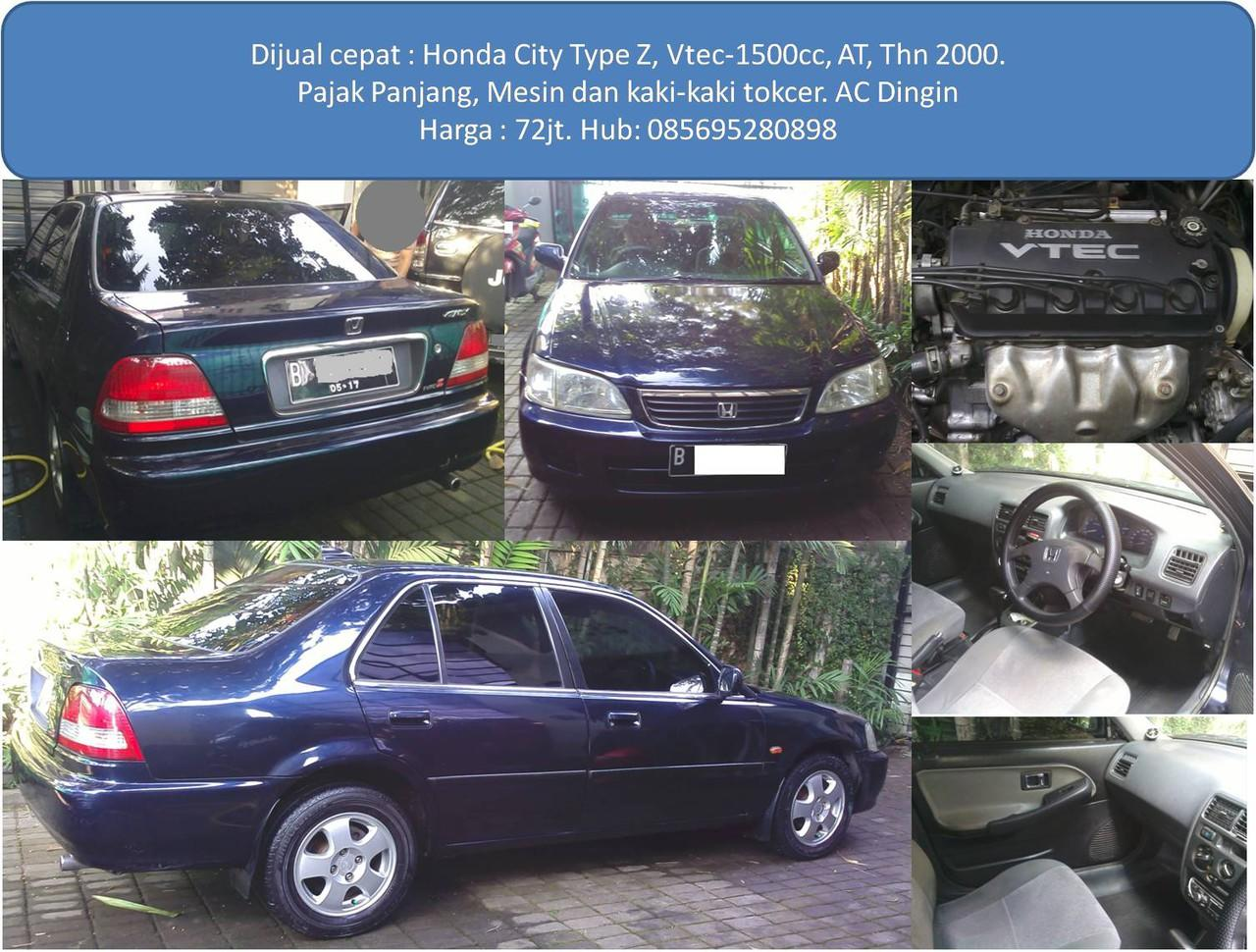 Jual Cepat : Honda City Type Z, Vtec, At, Biru Metalik
