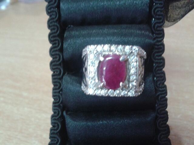 batu cincin perak permata ruby 100% natural