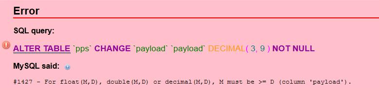 MySQL error #1427 tipe data Decimal