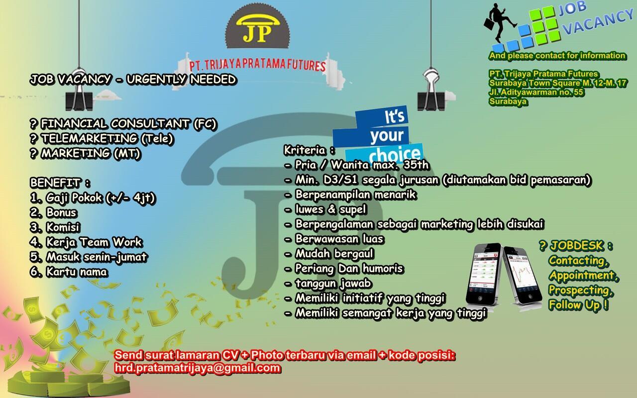 [Surabaya]- Lowongan Kerja MT PT Trijaya Pratama
