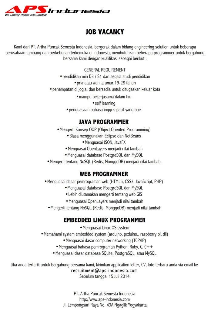 Loker Programmer Java Web dan Linux
