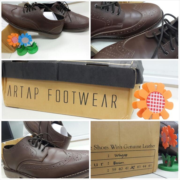 ▄▀▄▀ Sepatu KULIT Wingtip Brown MURAH KEREN CASUAL FORMAL Genuine LEATHER!!! ▄▀▄▀