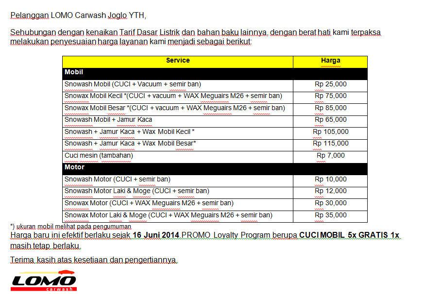 CUCI MOBIL + WAX @ LOMO Carwash - Cuci Mobil 24 Jam Jakarta Barat