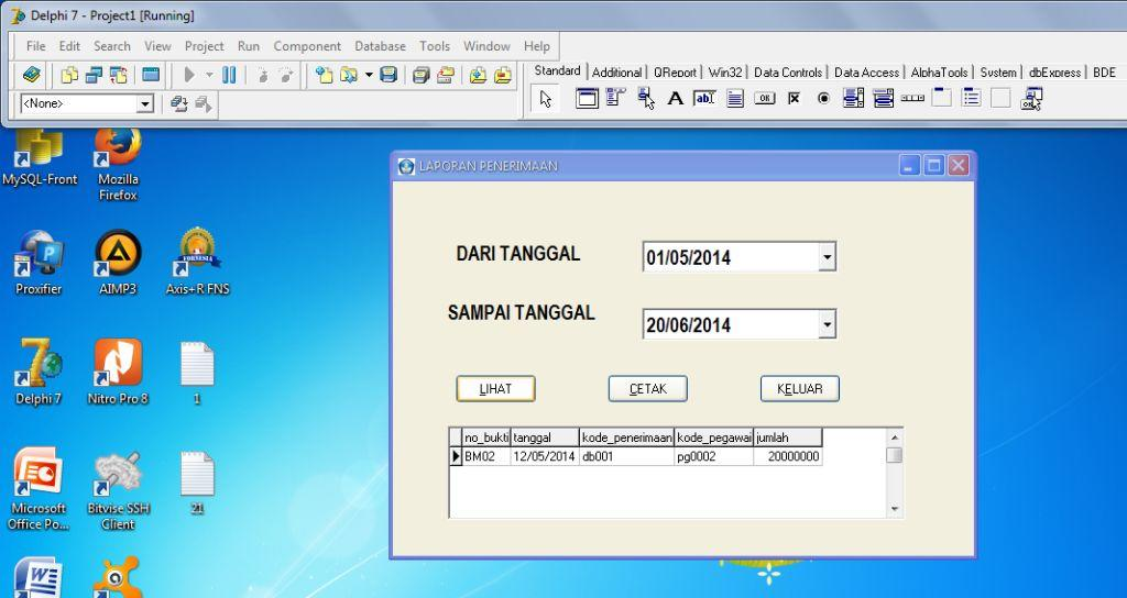 cara menampilkan laporan berdasarkan tanggal di qreport