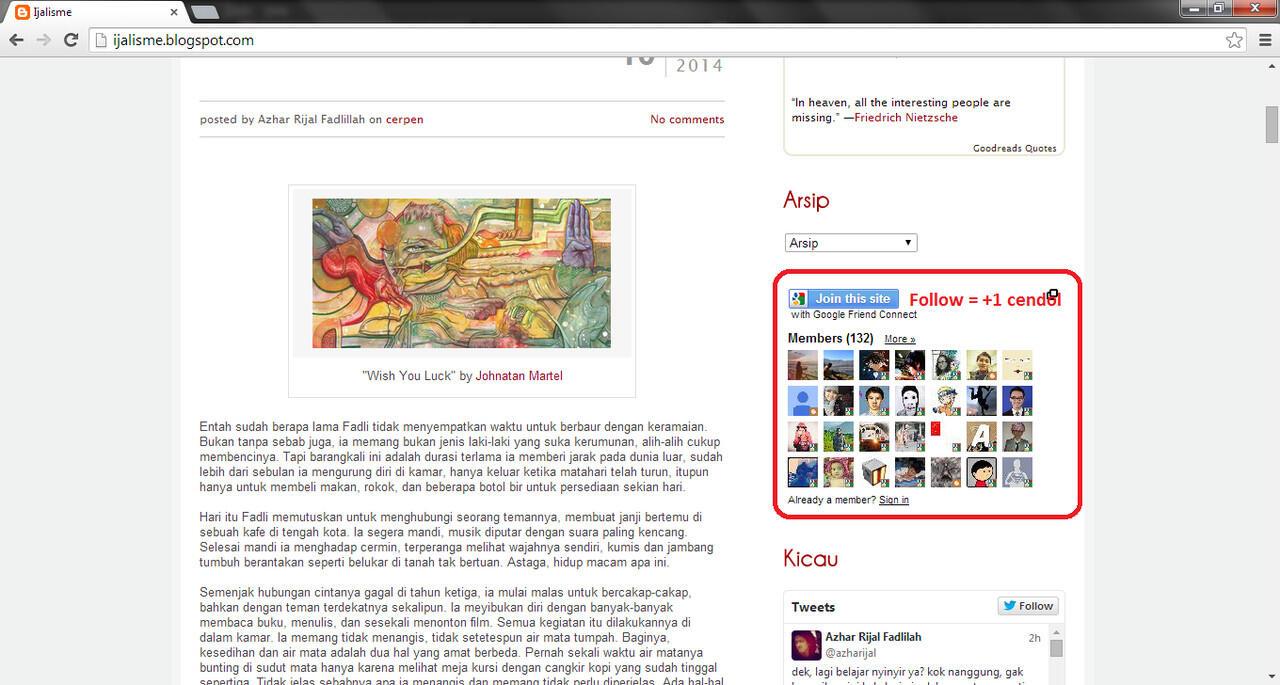 Follow Blogspot +1 Cendol
