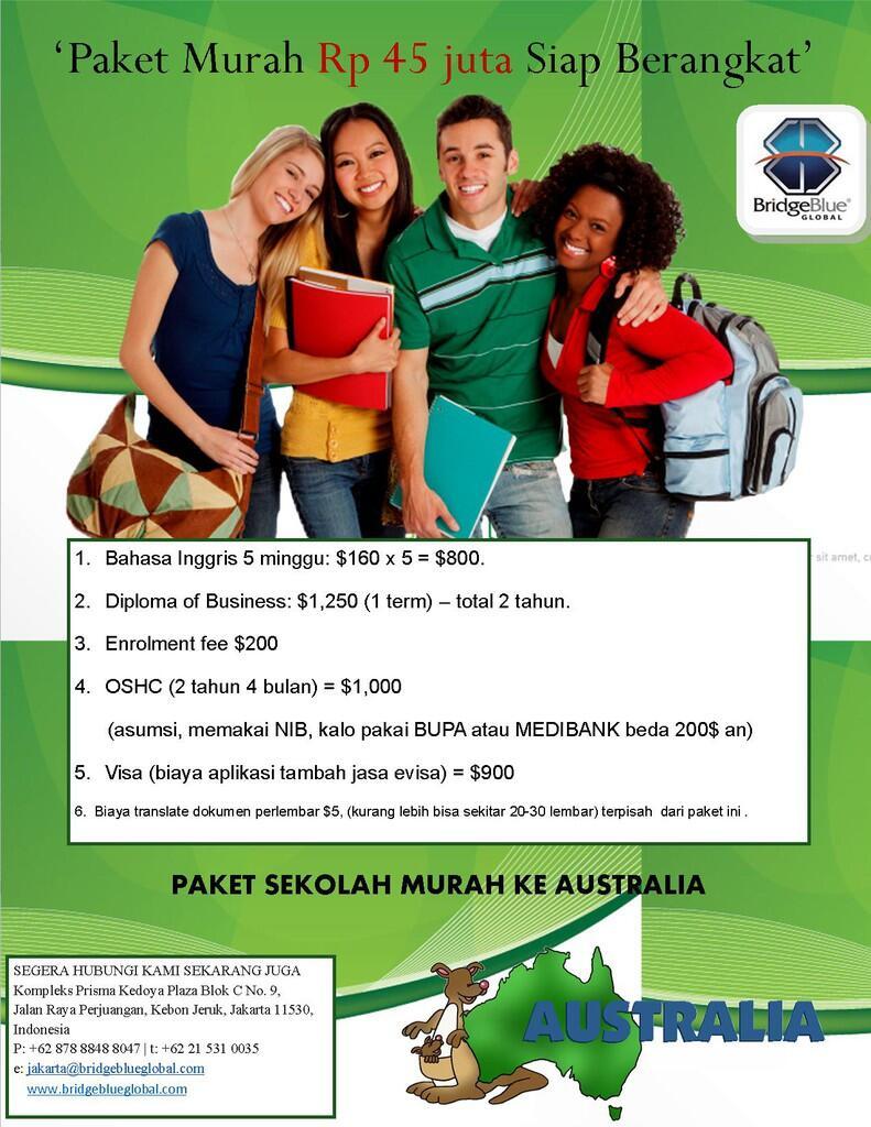 Paket Sekolah Murah Ke Australia 45 Juta Siap Berangkat