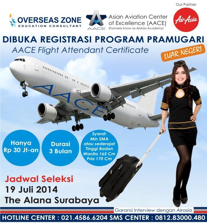 OPEN REGISTRATION FOR FLIGHT ATTENDANT PROGRAM IN SURABAYA