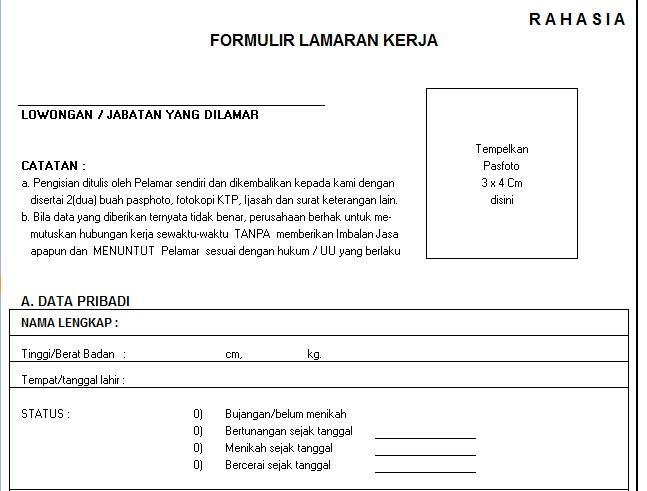 Jual Contoh Formulir Formulir Yang Dibutuhkan Hrd Perusahaan Kaskus