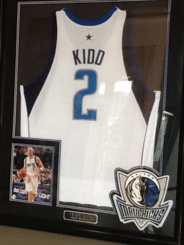 NBA Dallas Maverick Jason Kidd Framed Autographed jersey