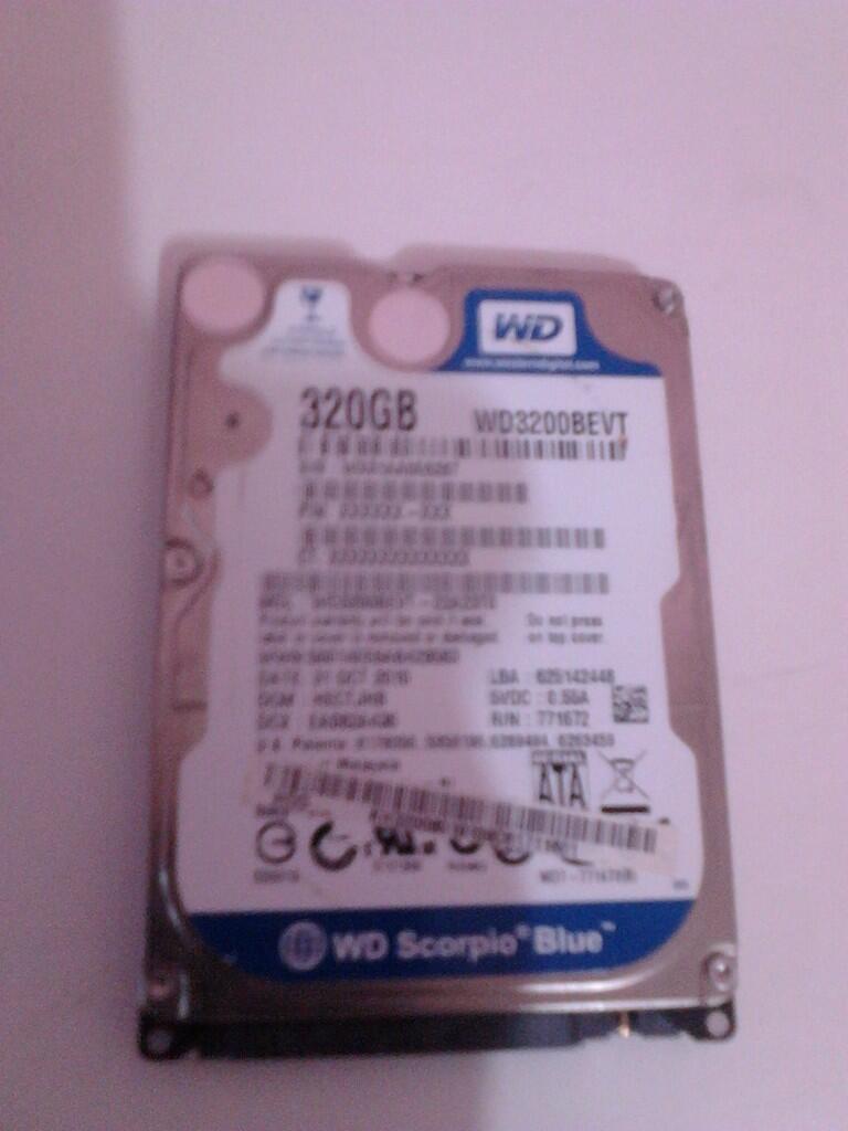 """Hardisk Internal 2,5"""" 320GB Western Digital Scorpio Blue."""