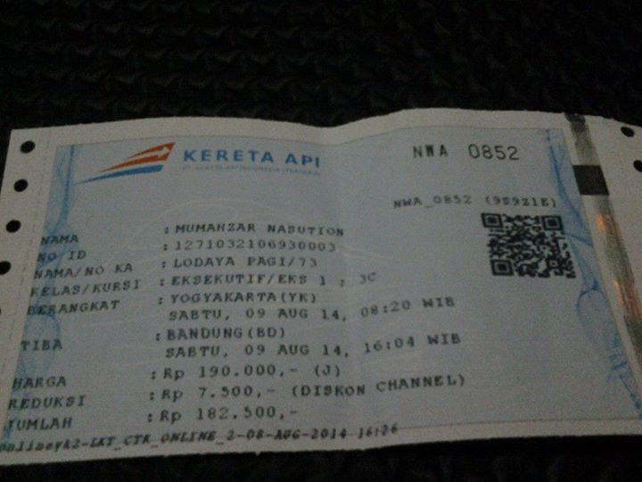 Terjual Jual Cepat Tiket Kereta Api Jogja Bandung Eksekutif 9 Agustus 14