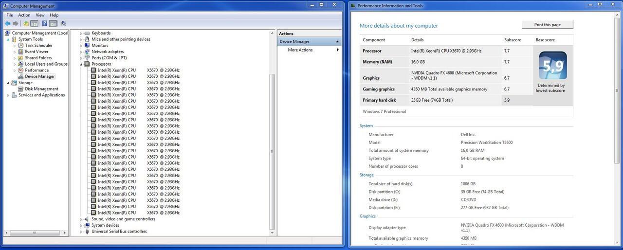 PC Workstation Dell Precision 12 Core X5670    16GB    QUADRO FX 4600    1TB   