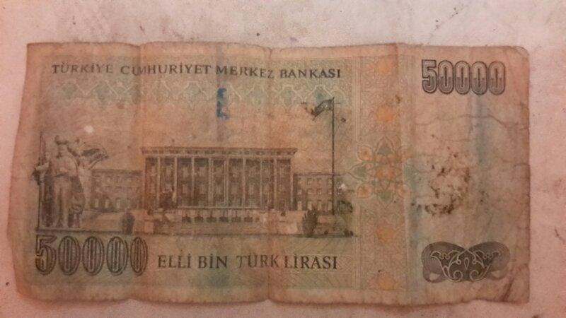 uang kuno asing turki 50000 lira