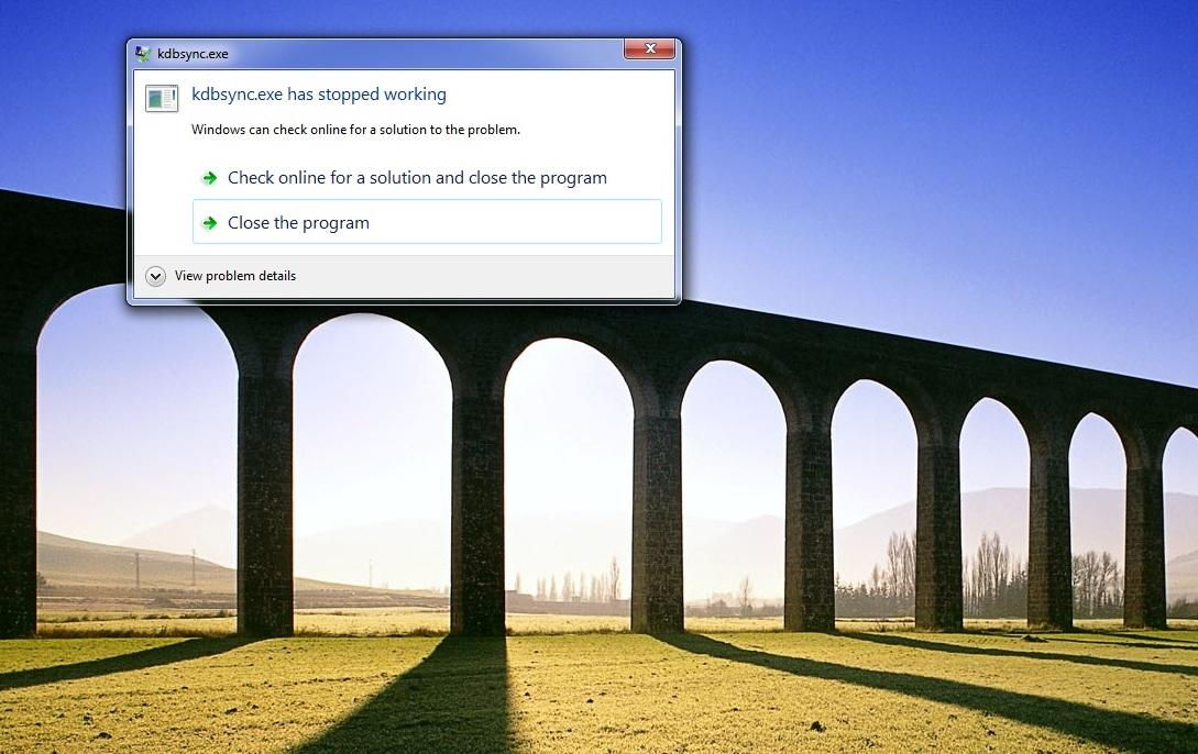 kdbsync.exe has stopped working windows 8