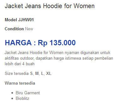 Jaket Jeans with Hoodie untuk Cewek | Harga hanya 135rb