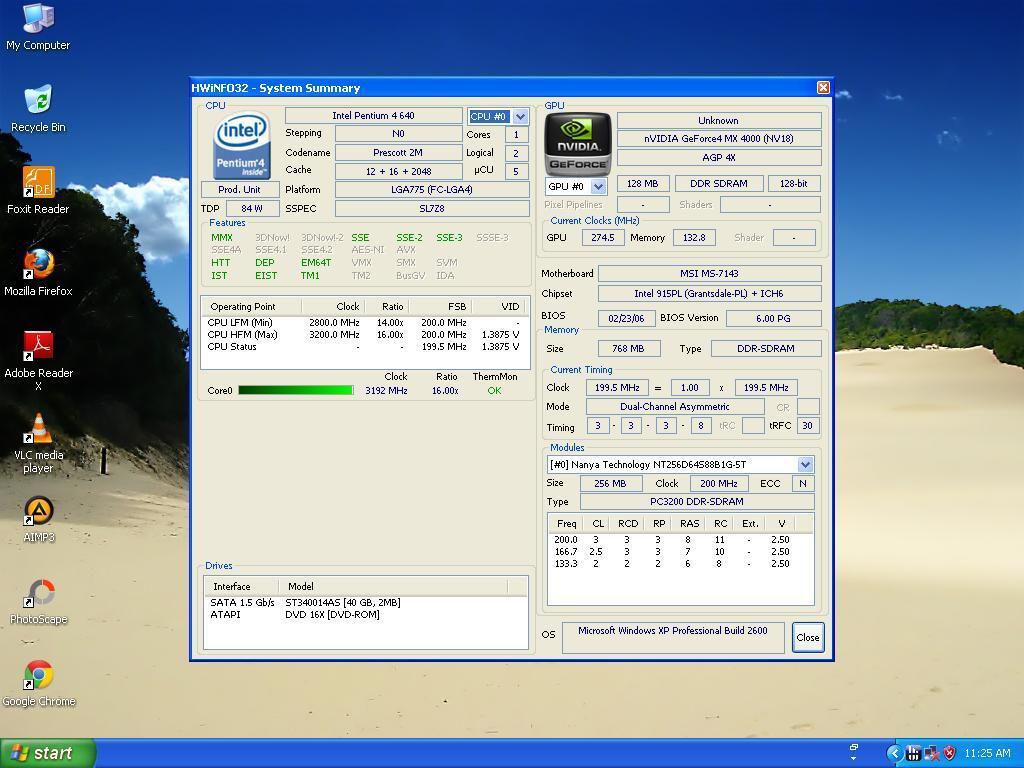 CPU Intel Pentium 4 LGA 3.2 GHz presscott