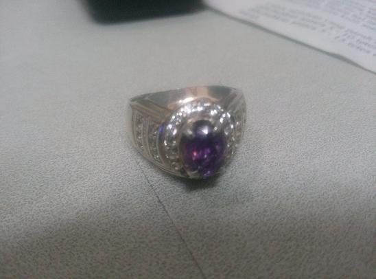 Cincin Kecubung Amethys Cutting Diamond RIng Perak (Mahar / Barter Butung)