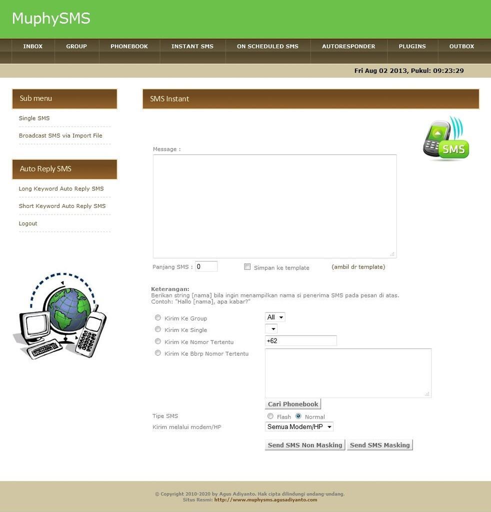 Jual Software SMS Gateway Multi Fungsi Berbasis Web dengan PHP, MySQL, dan Gammu