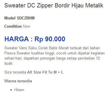 Sweater DC Zipper Bordir Hijau Metalik | Harga Grosir | Rp 90.000