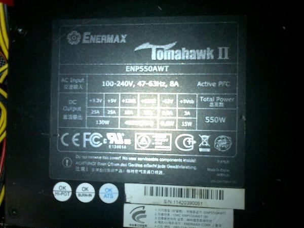 JUAL POWER SUPPLY ENERMAX TOMAHAWK II ENP550WATT PURE