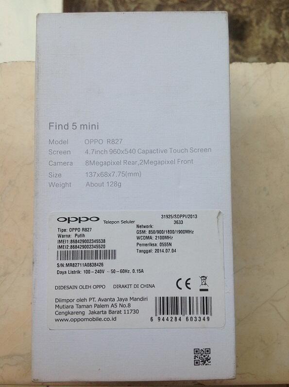 OPPO Find 5 Mini R827 White Lengkap Garansi Resmi Juli 2015 98,9% Mulus