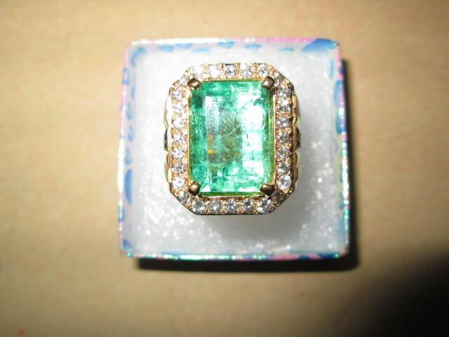 cincin batu ZAMRUD COLUMBIA, ikatan emas berlian, kwalitas super